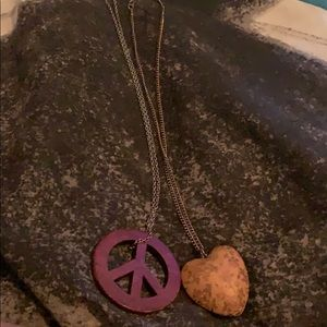 Heart and Peace Sign Necklace